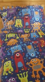 Kids duvet cover & pillowcase - blue patterned with cute colourful monsters