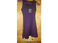 Missguided purple skater dress size 8 new with tags