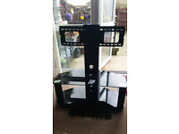 Black glass with chrome trim tv stand up to 50 inch