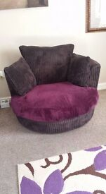 ****Chocolate Brown Swivel Cuddle Chair***