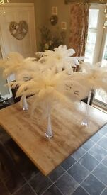 14 x Art Deco vases with gems and ostrich feathers