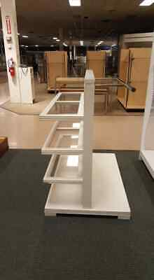 Retail White Clothing Rack Shelving Display Fixture Combo Unit
