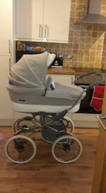 Bebe car silver shimmer edition pram with matching car seat