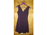 Boohoo Purple scallop skater dress size 8