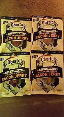 Smoked Bacon Jerky (4) BAGS-Oberto All Natural Applewood Smoked Bacon Jerky 2.5 Ounce Exp Aug)