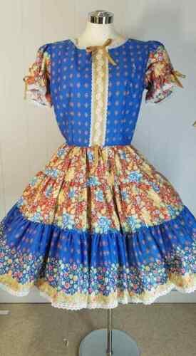 Vtg Rockmount Square Dance Dress Circle Skirt Cottagecore Octoberfest Dirndl L