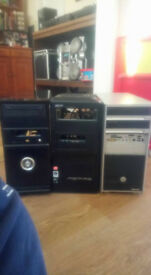3 PC Towers -full size - spares and repairs - all contain motherboards and other components