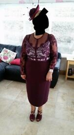 Burgundy dress size 16 coast