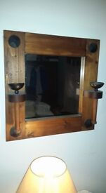 Rustic solid wood large mirror with metal candle holders