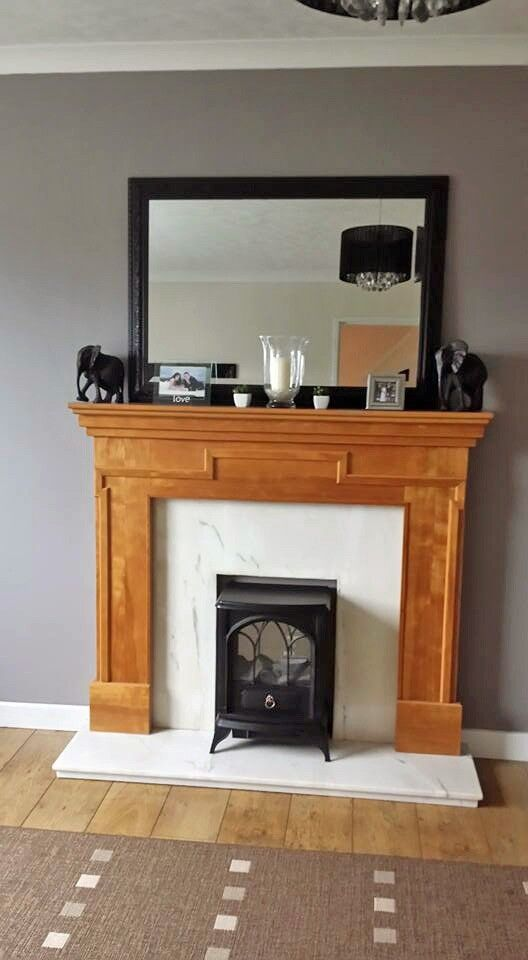 Wooden Fireplace Surround Mantle Cream White Marble Back Panel And Hearth Fire