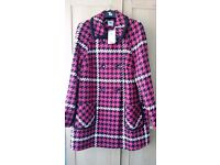 BNWT TU Dogtooth pink and black coat