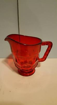 Ruby Red Honeycomb Pressed Glass Creamer/Pitcher