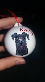 Handmade personalised Christmas baubles