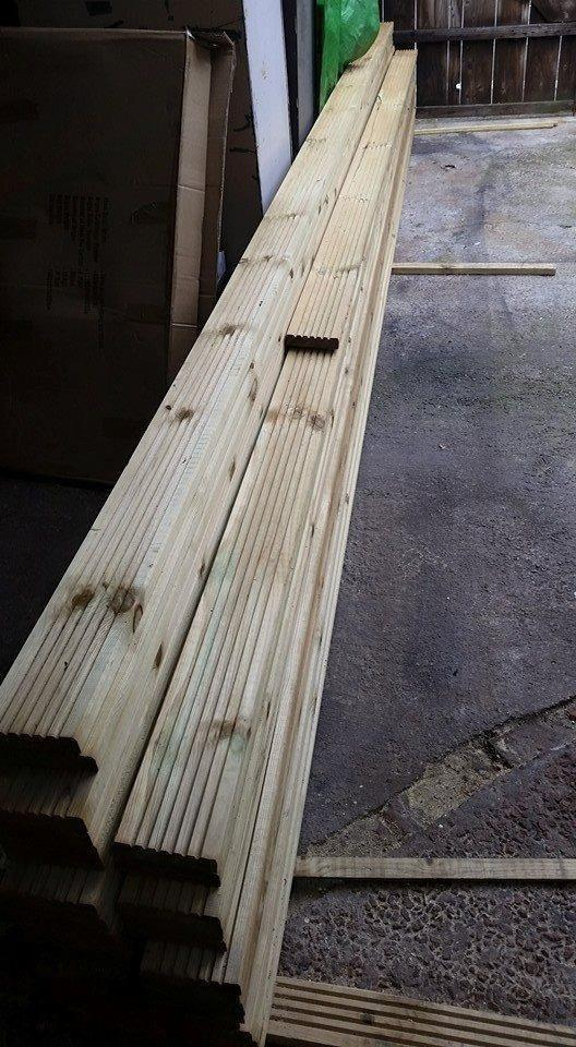 26 brand new never used decking boards selling for B and q timber decking