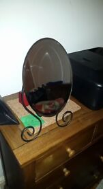 Art deco wrought iron style oval dressing table mirror