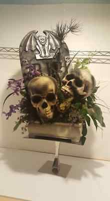 FLORAL SKULLS W/ TOMBSTONE PURPLE BLACK TABLETOP FLORAL GOTHIC CENTERPIECE (Halloween Wedding Centerpieces)