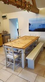 8 seater pine shabby chic table and chairs / bench...delivery possible