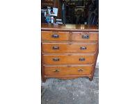 Antique Edwardian Oak Navel Chest Of Drawers