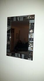 Art deco large mosaic framed mirror.