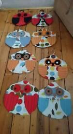 Handmade owl peg bags