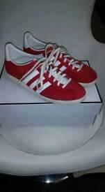 Red Adidas gazelles size 4