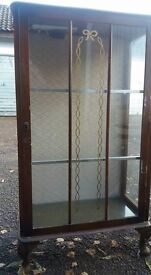 Vintage glass cabinet with glass shelves