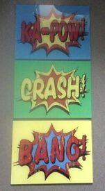 3 x Retro Comic Book Words Glass Wall Art