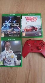Xbox one pad and 3 games