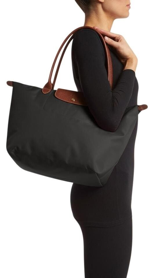 0bf64b28fe2d AS NEW Longchamp Le Pliage Large Nylon Tote Bag with long handle - Colour  Black