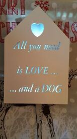 Dog and Cat led box wall plaque,in white