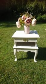 Vintage Style Bedisde Table Hand Painted in Annie Sloan Old White