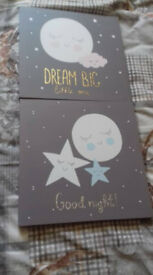 2 KIDS CANVAS PICTURES - CUTE POSSIBLE GOOD FOR BABY ROOM