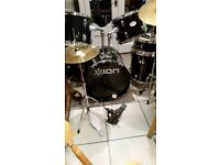ION FULL DRUM KIT IN BLACK GLOSS FINISH. SUIT BEGINNER