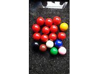 """Set Of Snooker Balls (47mm / 1 3/4"""" Diameter)"""