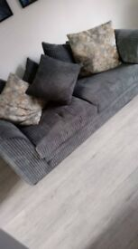 Grey Pillowback Sofa with footstall (1.8m long)