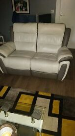 3 seater and 2 seater leather reclining sofas