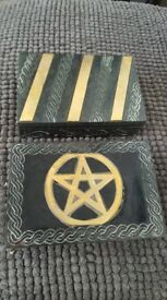 Brass Celtic or pentagram boxes.