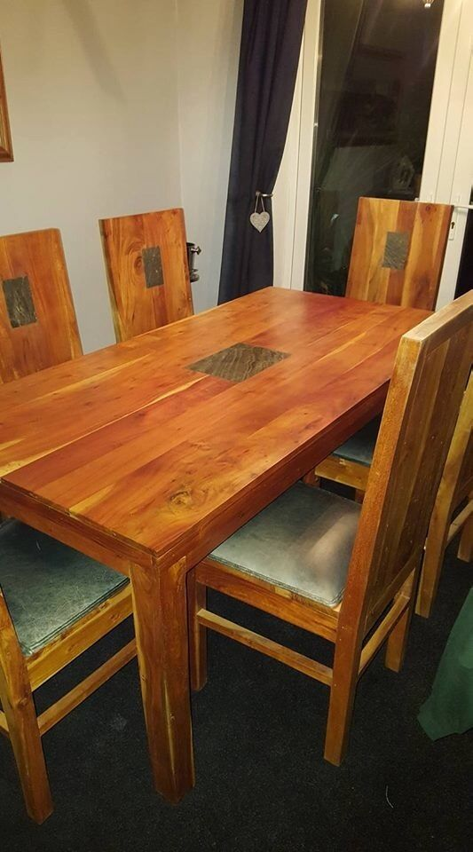 raspberry village large solid acacia wood slate dining table and 6 leather chairs