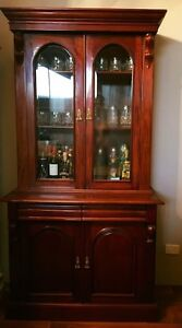 TWO DOOR SOLID FLAME MAHOGANY VICTORIAN STYLE BOOKCASE DISPLAY CABINET Casuarina Kwinana Area Preview