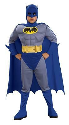 Boys Batman Muscle Chest Fancy Dress Costume Grey and Blue all sizes inc teen](Blue And Gray Batman Costume)
