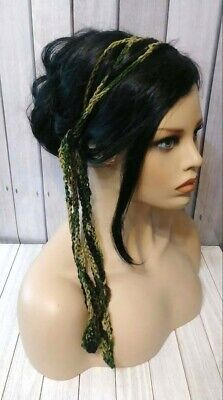 Camo camouflage boho gypsy hair tie wrap chain scarf headband crochet womans  for sale  Shipping to India