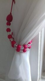 2 pink and silver beaded tiebacks. Voils included if required