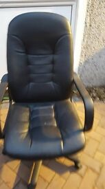 Black leather swivel computer chair