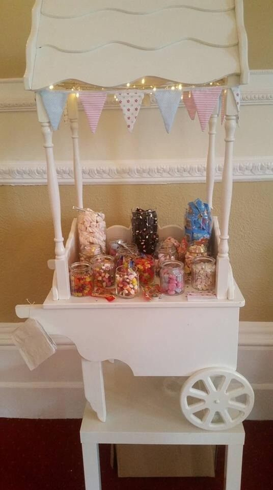 Table Top Sweet Cart With Fairy Lights Bunting And Jars Ideal For Weddings