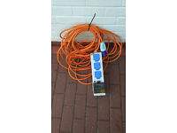 Electric Hook up cable camping 3 sockets RCB