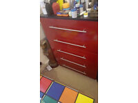 Red Gloss Chest Of Drawers