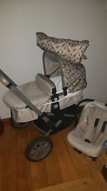 MOTHERCARE - Tusk Expedior Pram & Pushcahir & Car Seat Travel System