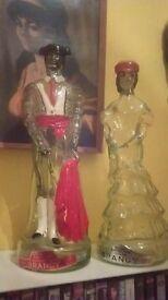 Large pair of 70s retro Spanish brandy bottles