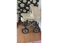 Cream Leather Unisex Pram, Used but Excellent Condition, Comes with Extras