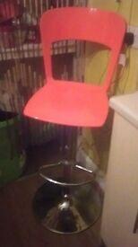 Stylish orange gloss & chrome bar stool